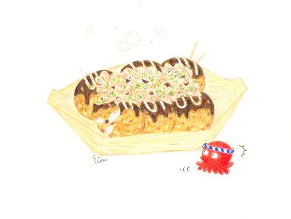 京插畫・京風章魚燒