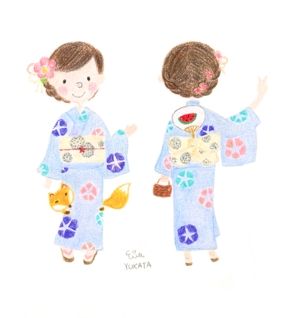 京插畫・夏日浴衣