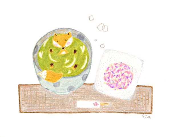 京插畫・虎屋紫陽和菓子