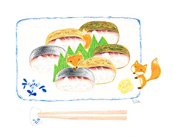 京插畫・鯖姿壽司