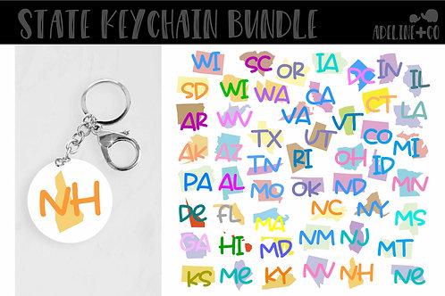 Acrylic round keychain States bundle