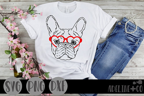Frenchie with heart glasses, SVG, Valentine's Day