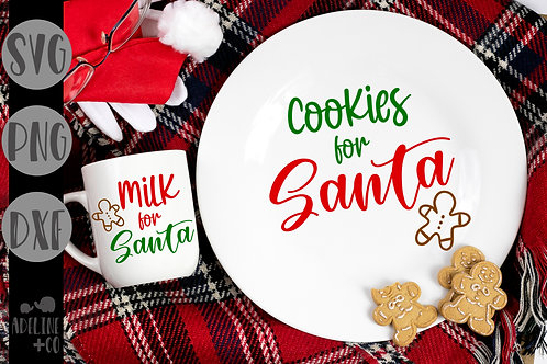 Cookies and milk for Santa plate and mug