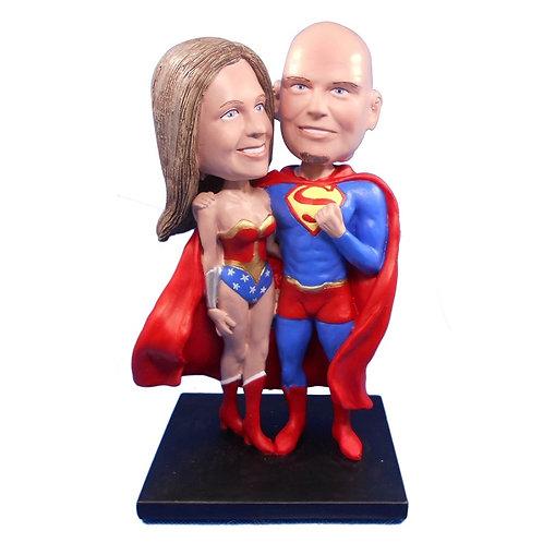 Figurines couple personnalisées -WONDER WOMAN et SUPERMAN