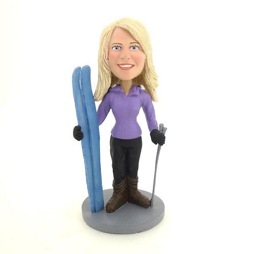 Figurine personnalisée femme SKI