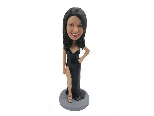 Figurine personnalisée femme en ROBE DE SOIREE