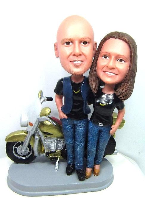 Figurines personnalisées Couple moto