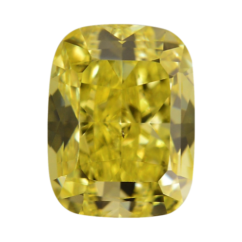 Fancy Vivid Yellow, 0.24 ct., Cushion Cut, IF (GIA #6177386722)