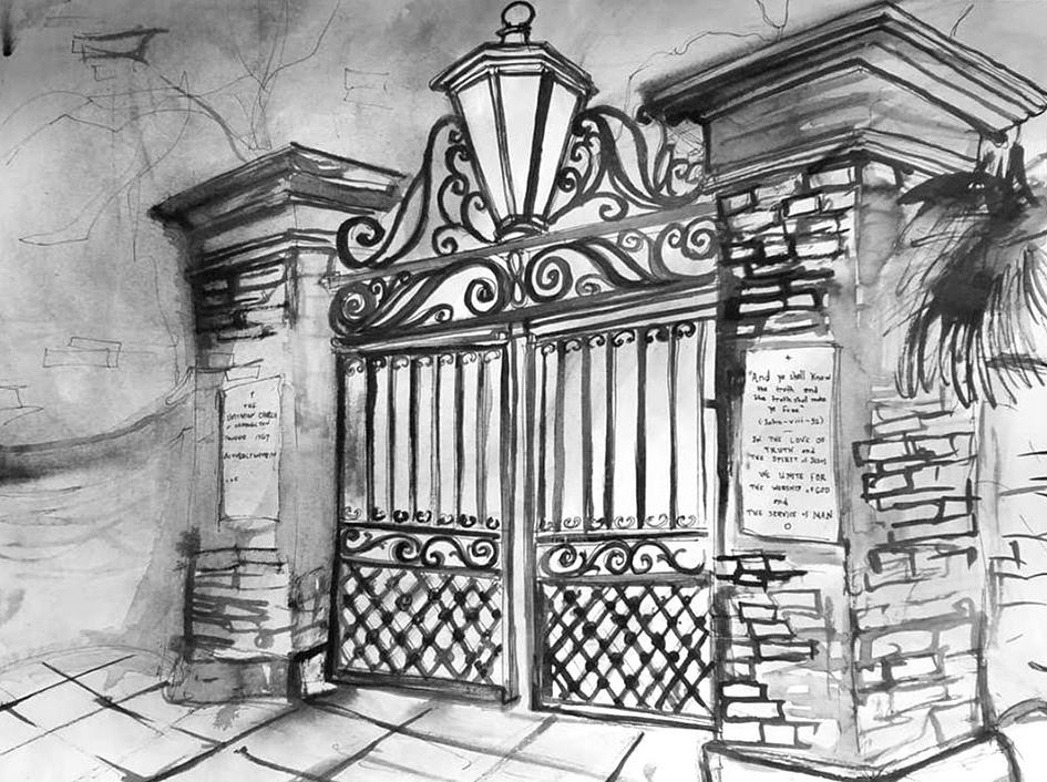Unitarian Church Gates King Street 9 x 12 2018