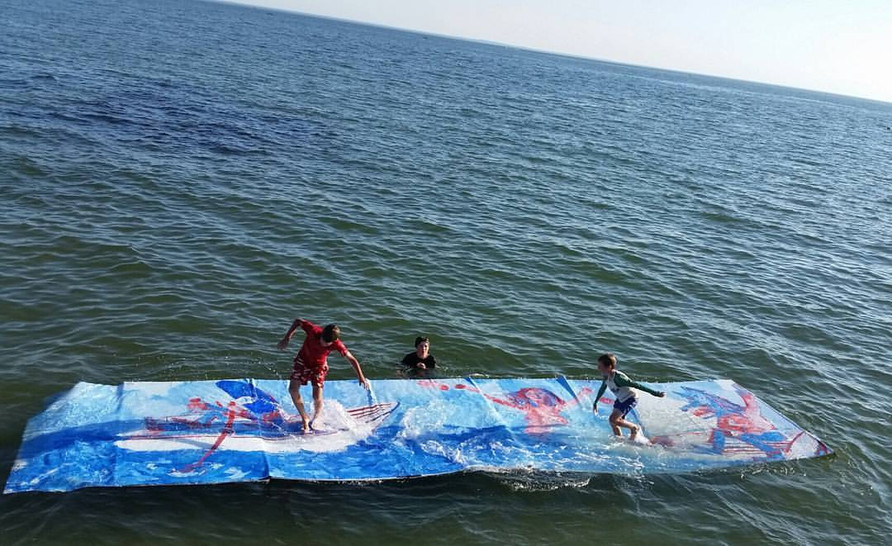 Floating Painting #2 24ft x 6ft Long Island Sound 2016