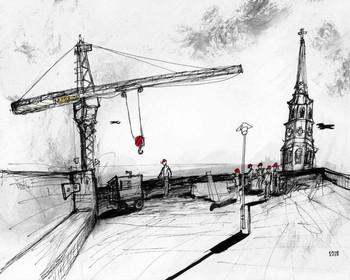 Steeple & Crane  9x12  Ink on Paper  2000