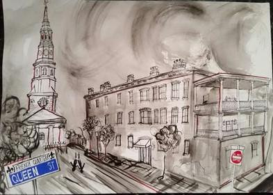 Charleston French Quarter Streetscape  18x24  India Ink  2016