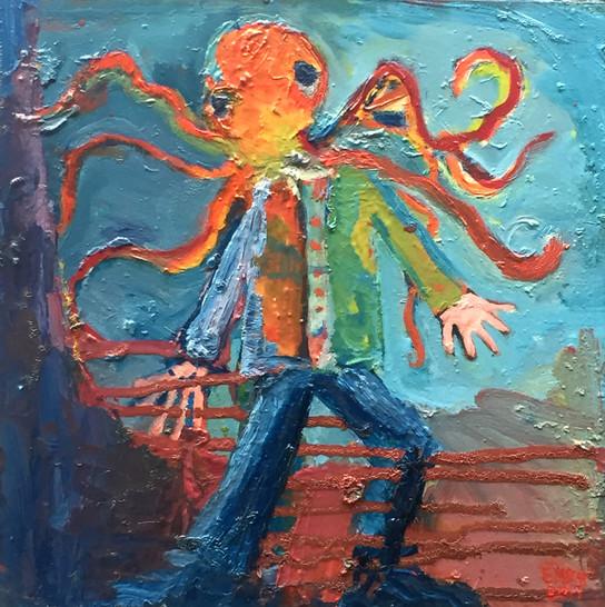 Octopus Man Oil on Birch 12 x 12 2017