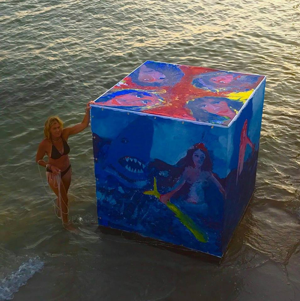Floating Cube  6ft x 6ft x 6ft Installation laucnhed in Long Island Sound, 2017