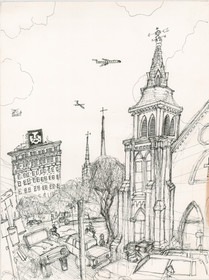 Andre on Marion Square  Avec Mother Emanuel 10x14  India Ink  2014