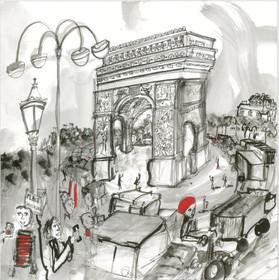 Arc de Triomphe  12x12  India Ink  2012