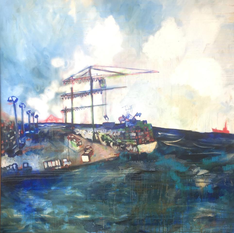 Portside Oil on canvas 5'x5' 2001