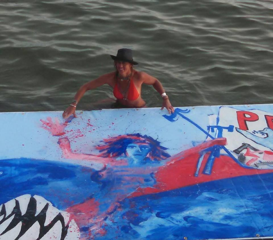 Floating Painting #1 24ft x 6ft Long Island Sound, 2016