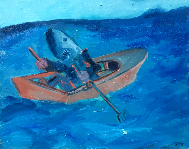 Sharkman Rowing Oil on Birch 16 x 20 2017