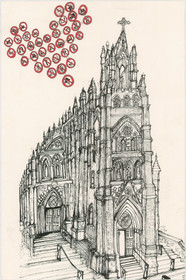 Cathedral on Broad Street avec Accoutreument 12x16  India ink  2013