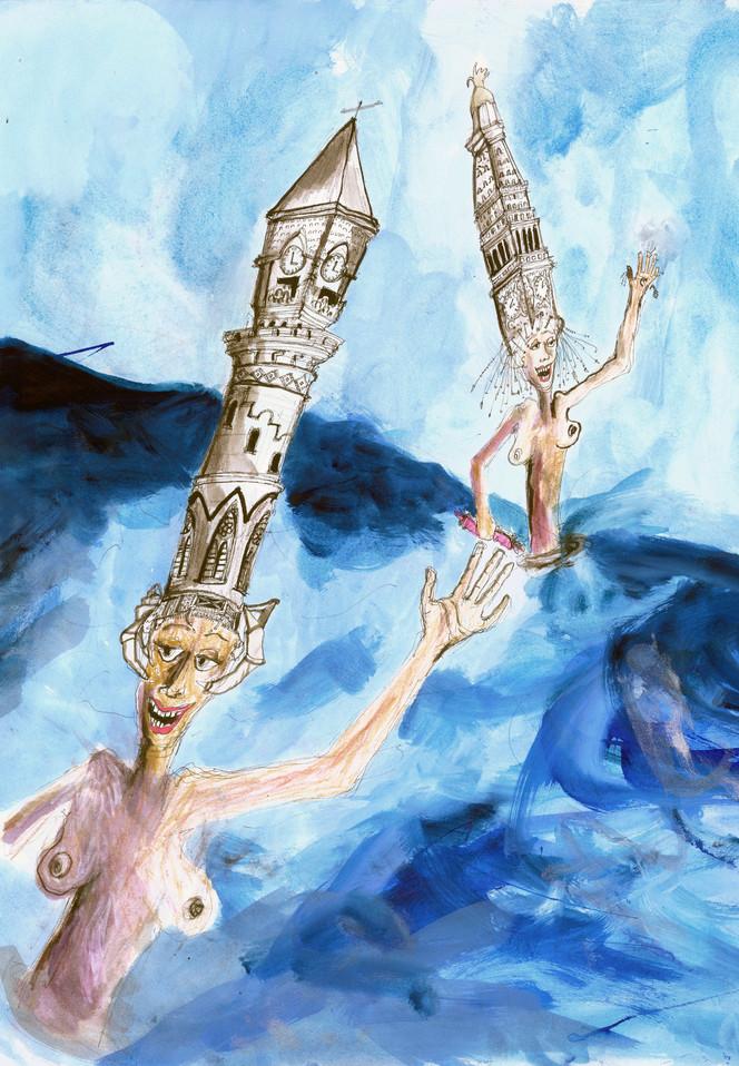 Met Life & Jefferson Market Steepleheads 18x24 Watercolor 2006