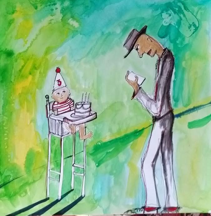 Happy Birthday 12x12 Watercolor & Ink  2016