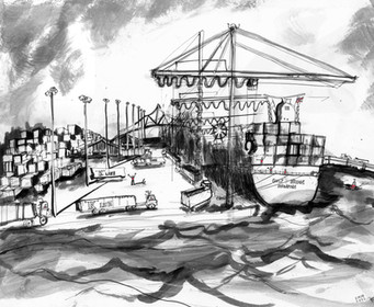 Port of Charleston  14x20  India Ink  2001