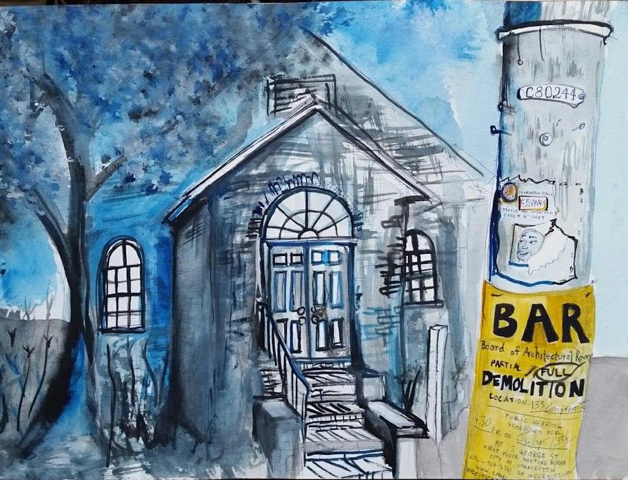 Congress Street Chopping Block  9x12  Watercolor  2017