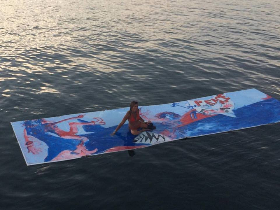 Floating Painting #1 24ft x 6ft Long Island Sound 2016