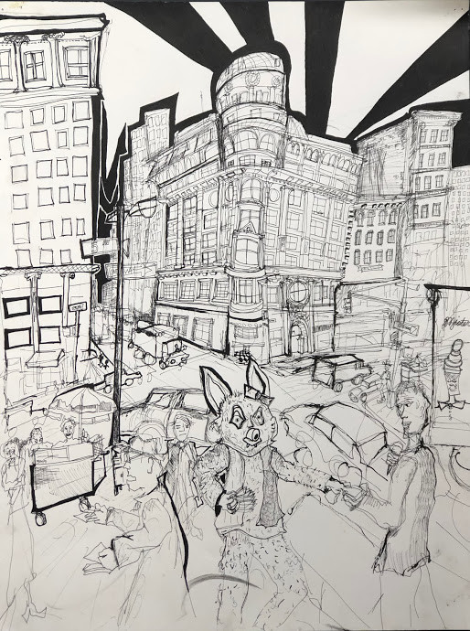 Gimme Some 5th Ave  18x24  India Ink 1998