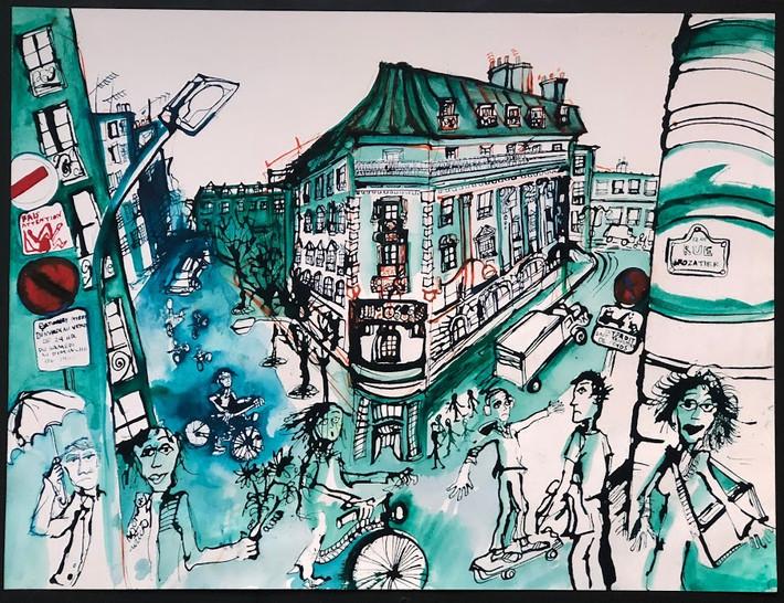 Rue Crozatier in Color, Paris 18x24  Watercolor  2018