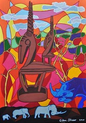 African Sculpture 3 - Safari Sunset