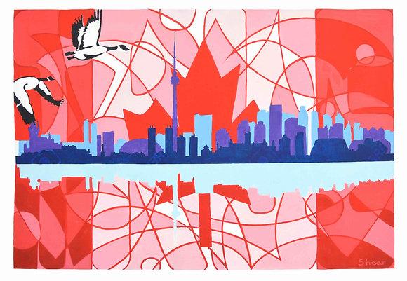 Toronto Skyline with Flag