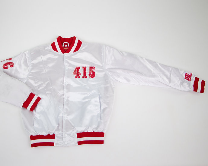 Frisco Niner Satin Jacket White