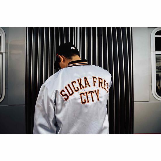 Sucka Free City White Satin Jacket