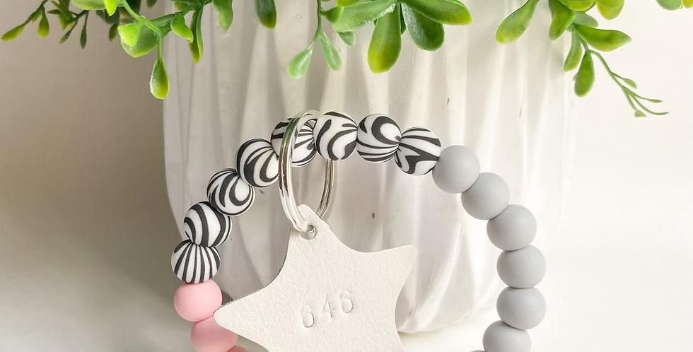 Zebra Keychain Wristlet