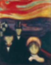 Malerei Angst von Munch, das Gegenteil von Angst ist nicht Liebe.