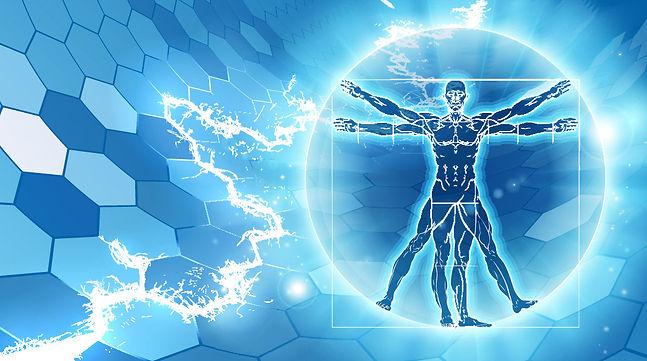 Figur mit Lichteffekten, wie entstehen Gefühle und Emotionen.