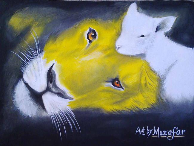 Gemälde von Muzafar, Löwe und Schaf, Gegenteil von Liebe.
