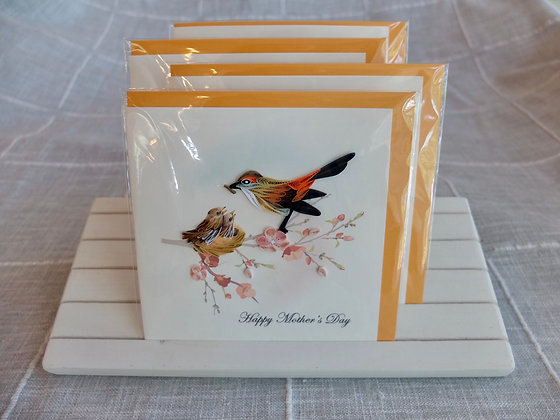 Mother Bird & Babies Greeting Card