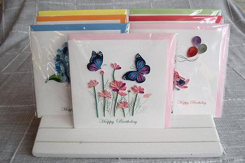 Birthday Flowers & Butterflies Greeting Card
