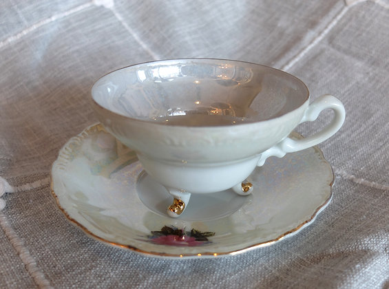 3-Footed Floral Teacup & Saucer