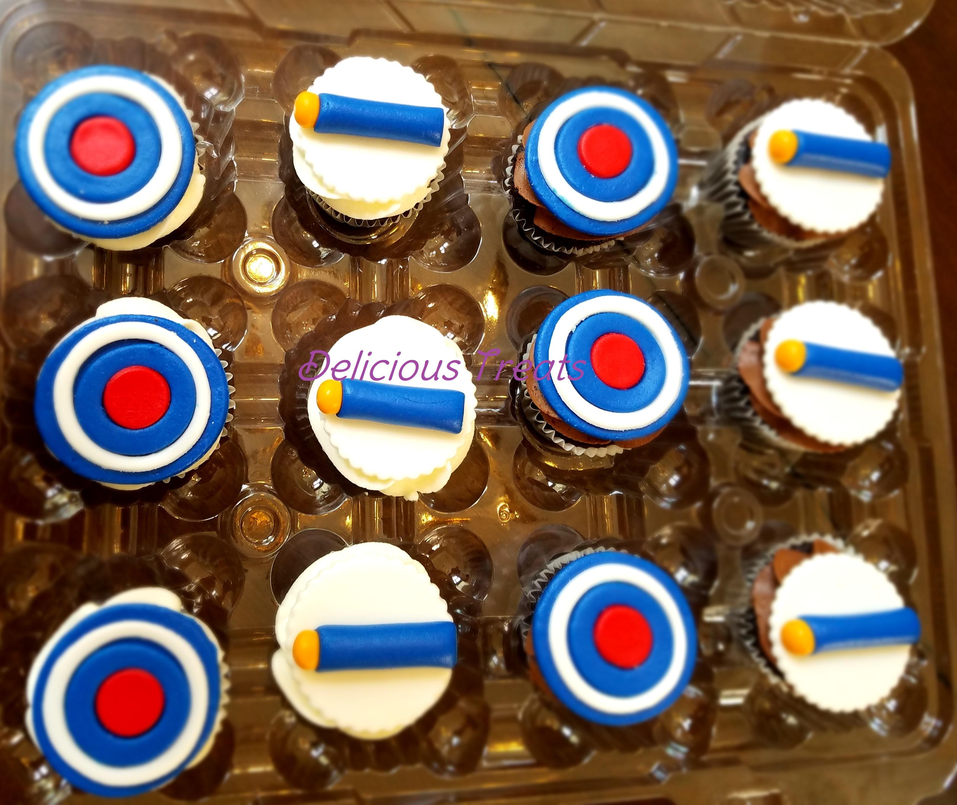 Nerf gun theme cupcakes