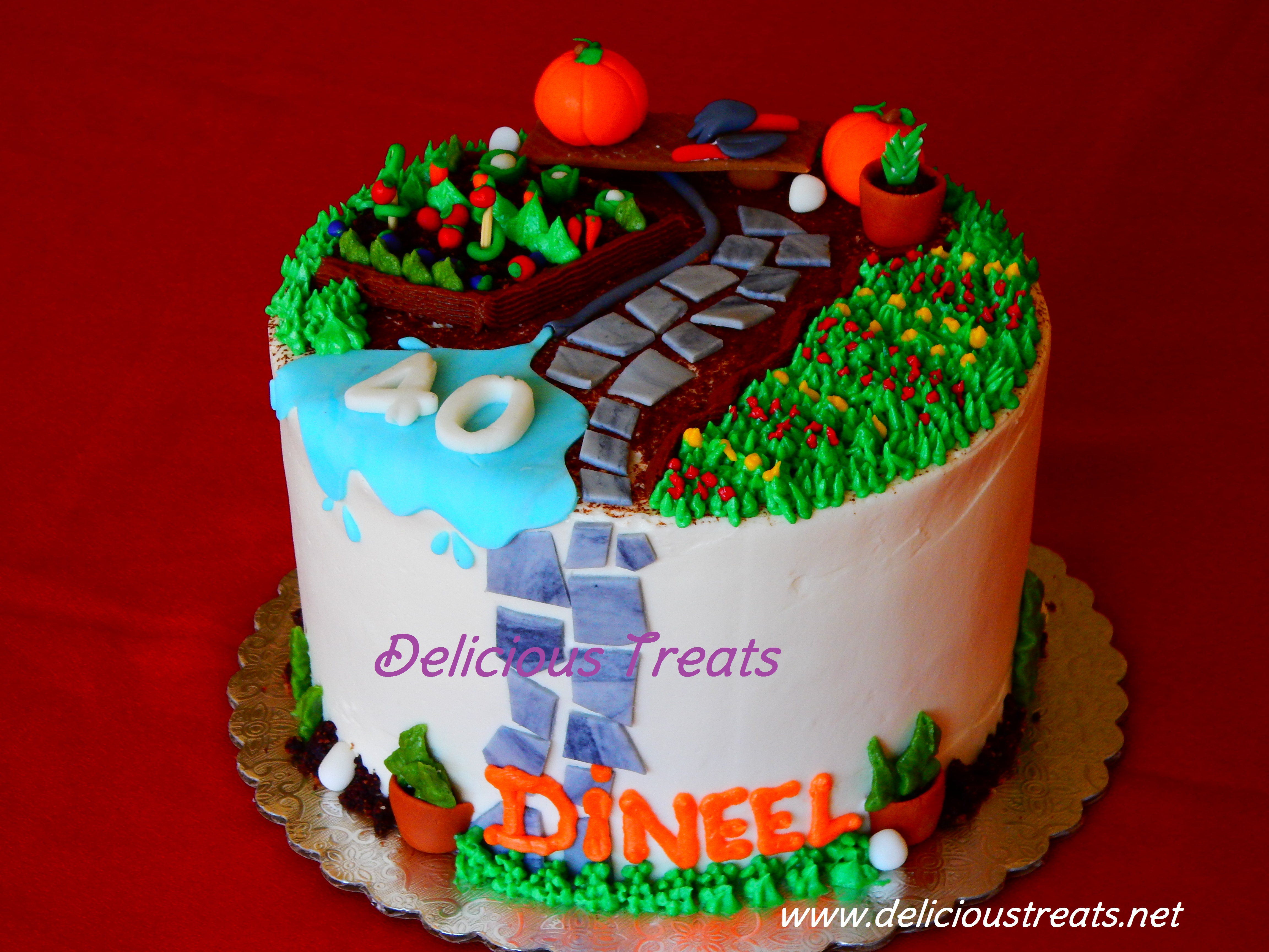 Gardening theme cake