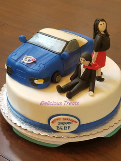 corvette car & husband wife