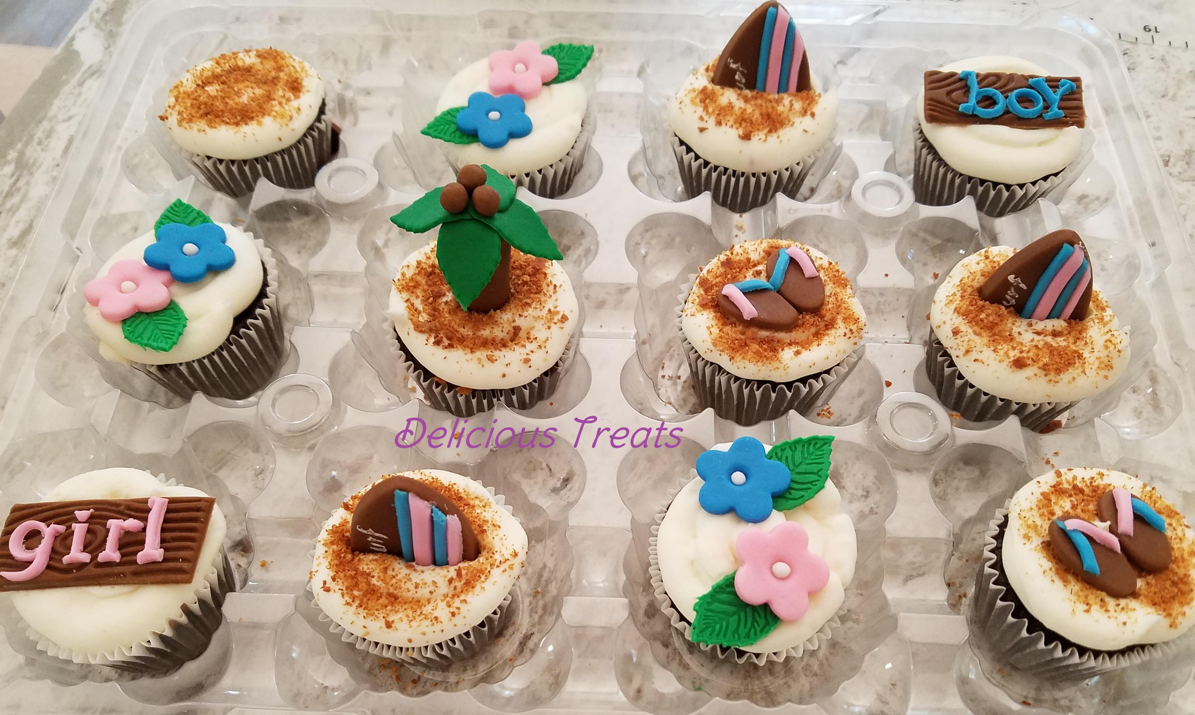 Hawaii theme baby shower cupcakes