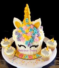 Unicorn theme Giant cupcake cake