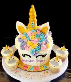 Unicorn theme Giant cupcake cake