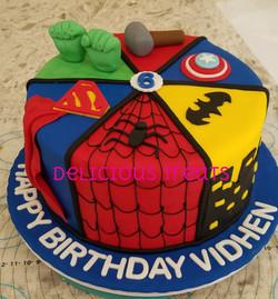 Super heroes theme cake