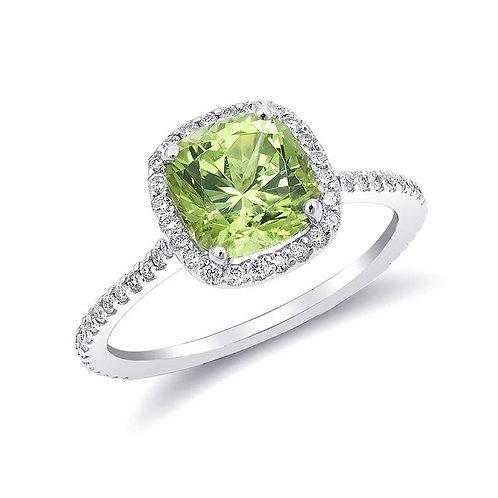 14k White Gold 2.22ct TGW Mali Grossular Garnet Diamond Halo Engagement Ring